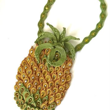 Pineapple Necklace, Pineapple chunky necklace, Soutache tropical fruit  summer necklace, Statement exotic beach wedding jewelry, Surfer girl