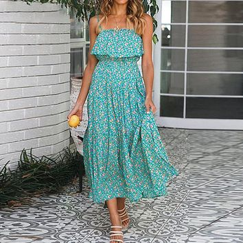 Fashion Vintage Floral Print Long Dress Women Casual Holiday Beach Party Dress