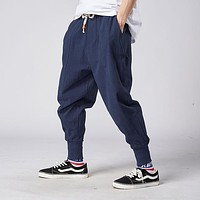 Harem Japanese Casual Cotton Linen Trouser Jogger Chinese Baggy Pants