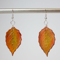 Autumn Leaf Polymer Clay Dangle Earrings