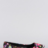 Women's Qupid Floral Pointy Toe Ballet Flat