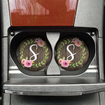 Thank you gift for Coworker, Car Cup Holder Coasters, Personalized Monogrammed Car decor, Rustic Floral, Set of 2 (CAR0013)