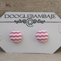 The Pink Wave Effect Design- Pink and White Wave Wavy Chevron Lines Stripes Fabric Button Earrings Stud Post- Wedding
