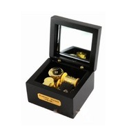 Laxury 18 Note Wind-up Wooden Musical Box ,Gold Movement---different Color and Tune Available, Tune: Canon in D, Black