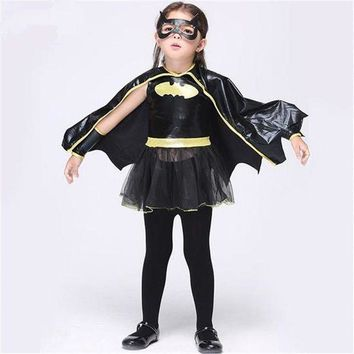 CREY6F Free shipping Christmas Fancy Masquerade Party Batman Bat Girl Costume Children Cosplay Dance Dress Costumes for Kids Halloween