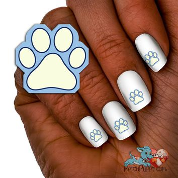 Light Blue, White and Navy Paw Print Team Spirit Nail Art Decals (Now! 50% more FREE)