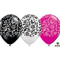"""(12) 11"""" Damask Patterned Black, White & Pink Latex Balloons Party Decor"""