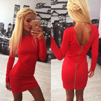 Zipper-Back Long-Sleeve Bodycon Dress