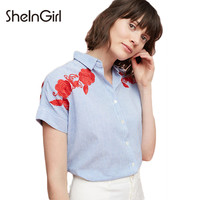 Stripe Floral Embroidery Women Blouses Single Breasted Brief Top Shirts Preppy Casual Female Summer Blouses