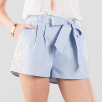 Pamela Chambray Tie Shorts