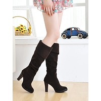 Lapel Faux Suede Knee High Boots High Heels Chunky Heel 9467