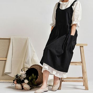 Black Linen Apron Dress with Pockets