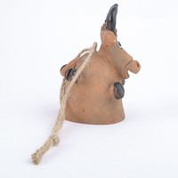 Handmade designer figured ceramic Bell in the shape of Cow Interior decoration