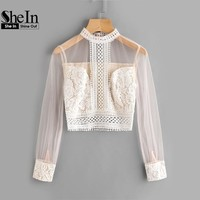 SheIn Sexy Women Blouses Summer 2017 Band Collar Mesh Sleeve Lace Top Autumn Apricot Long Sleeve Slim Crop Top