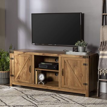 """Walker Edison Furniture Company Farmhouse Barn Wood Universal Stand for TV's up to 64"""" Flat Screen Living Room Storage Cabinet Doors and Shelves Entertainment Center, 58 Inch, Barnwood TV Stand"""