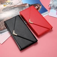 KISSCASE Envelope Wallet Case For iPhone 7 & 7 Plus Luxury Party Purse Woman Handbag Leather Phone Cover Card For iPhone 7 7 Plus