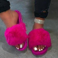 New Fur Women Slippers Shoes Ladies Slippers Outdoor Slides Ladies Furry Beach Flip Flops Fluffy Women Shoes