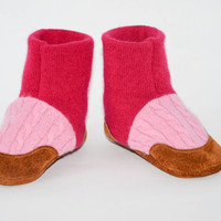 Baby Cashmere booties, Toddler Cashmere Shoes, Baby Cashmere Slippers, Soft Leather Soles. Sizes Baby 0-12M, 6-18M & 12-24M Pink Feet