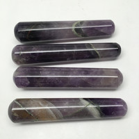 "76-94G, 1pc Handmade Amethyst Crystal Obelisk Massage Healing @India, 4.1""-4.4"""