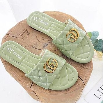 Gucci Sandals and slippers 2020 new fairy style metal letter word slippers square head beach shoes