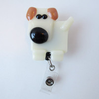ID Badge Holder, ID Card Holder, Retractable ID Card, Wearable Dog, Dog Accessory, Dog Lover Gift, Gift for Dog Lover, Fused Glass Dog