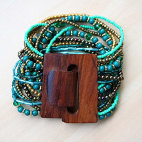 Layered Beaded Bracelet with Wooden Clasp