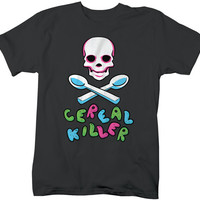 Funny Cereal Killer T-Shirt Hipster Gift Idea Skull Spoons Graphic Printed Shirts
