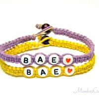 Jewelry for Couples or Best Friends, BAE, Light Purple and Bright Yellow Hemp Bracelets, Set of Two