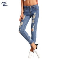 New Arrival High Street Fitness Denim Pants Womens Blue Skinny Ripped Mid Waist Button Fly With Pockets Ankle Length Jeans