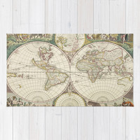 Vintage Map of The World (1680) Area & Throw Rug by BravuraMedia | Society6