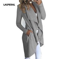 LASPERAL New Fashion Women Casual Pocket Irregular Cardigan Coat Loose Casual Basic Jacket Elegant Long Outwear 2018 Slim Jacket