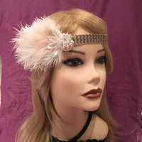 1920's inspired native american flapper ivory off-white Pearl Seed Bead Sequin headband ostrich feather adjustable 1920 head headpiece (662)