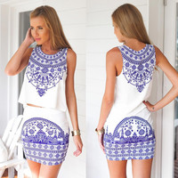White Porcelain Print Sleeveless Mini Dress