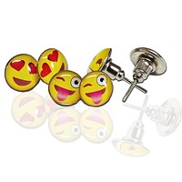 Assorted Emoji Smiley Face Pin-Back Earrings