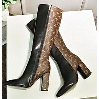Wearwinds LV Louis Vuitton Fashion New Monogram Print Leather High Quality Long Boots High Heels