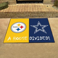 Pittsburgh Steelers - Dallas Cowboys House Divided All Star Area Rug Floor Mat