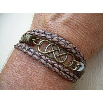 Double Infinity Leather Bracelet with Antique Bronze Hardware