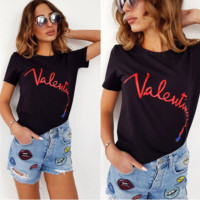VALENTINO New fashion summer bust letter lipstick print short sleeve T-shirt top women Black