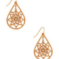 FOREVER 21 Standout Drop Earrings Gold/Clear One