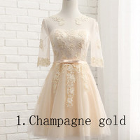 Champagne cocktail dresses host the dress show in the bridesmaid dresses of the sisters