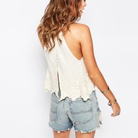 New Look Embroidered Mesh High Neck Cami
