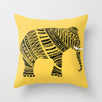 Endangered elephant - yellow Throw Pillow by Farnell
