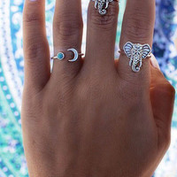 Silver Ethnic Midi Lips Six-piece Rings Of Luck