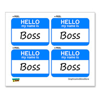 Boss Hello My Name Is - Sheet of 4 Stickers