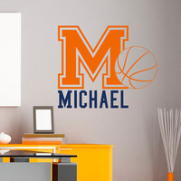 Initial Name Wall Decal Basketball Sports Wall Decals Personalized Initial Name Monogram Nursery Kids Boys Teens Room College Decor M036