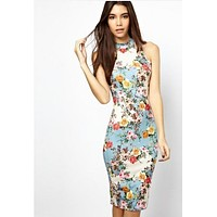 fhotwinter19 Women's hot sale retro floral slim sleeveless hip dress