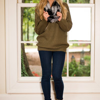 Sweetly Scalloped Sweater, Olive