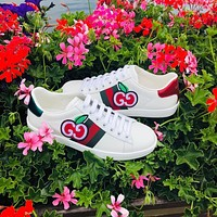 GUCCI Tide brand simple embroidery apple low-top flat white shoes
