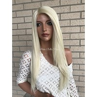 Light Blond Silk Top Human Hair Blend Multi Parting Lace  Front Wig - Lena