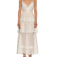 Tiered lace midi dress | Self-portrait | MATCHESFASHION.COM US